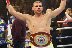 Billy Joe Saunders celebrates winning the WBO World Middleweight title at Manchester Arena.